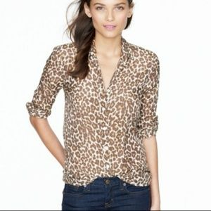 J.Crew Perfect Shirt in Animal Print Cotton Silk